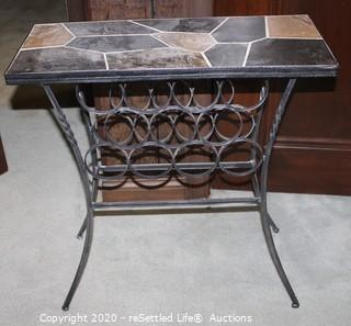 Metal and Stone Wine Table