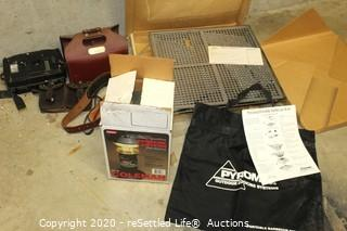 Pyromid Portable Barbecue Stove, Coleman Lantern, Leather Hunting Accessories & Moultrie Camera